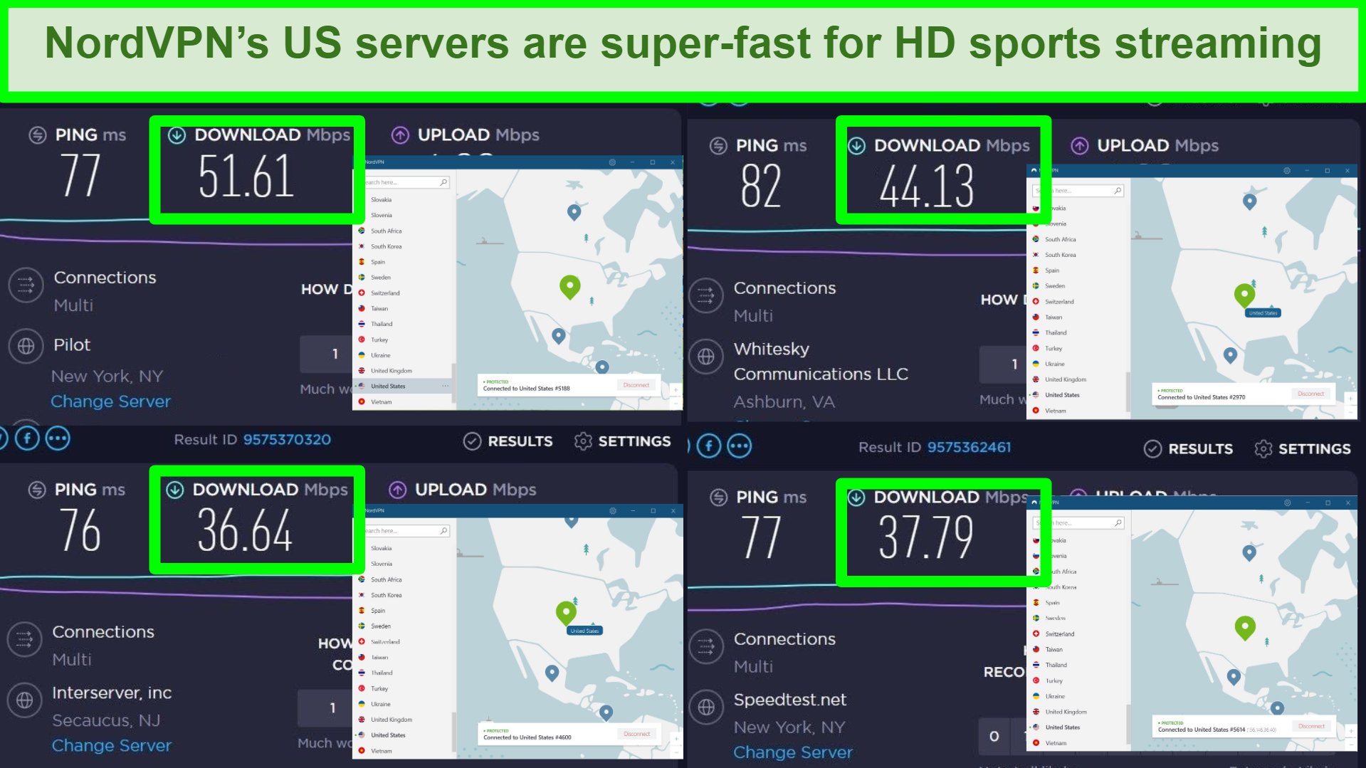 Screenshot of Ookla speed test and NordVPN connected to US server