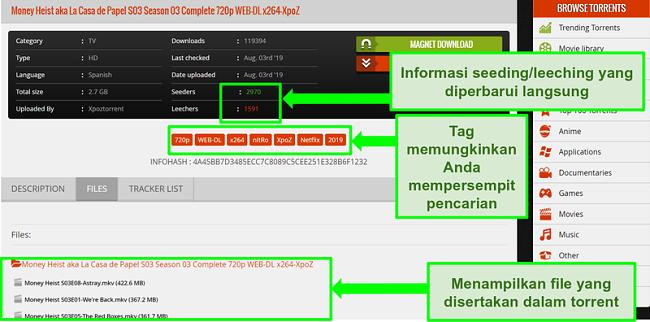 Tangkapan layar dari halaman unduhan 1337xTorrents