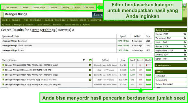 Tangkapan layar dari halaman pencarian Limetorrents