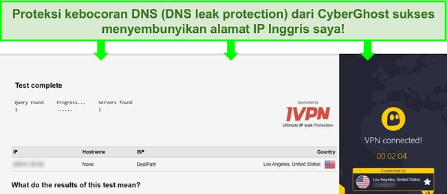 Tangkapan layar uji kebocoran DNS saat tersambung ke CyberGhost