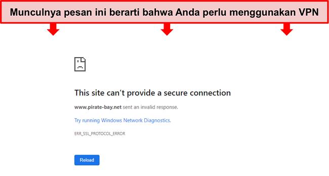 Tangkapan layar pesan kesalahan saat mencoba mengakses Pirate Bay tanpa VPN