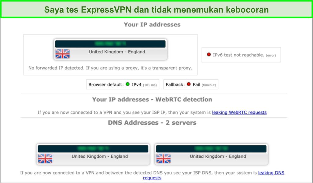 Tangkapan layar hasil uji kebocoran ExpressVPN saat tersambung ke server di Inggris Raya