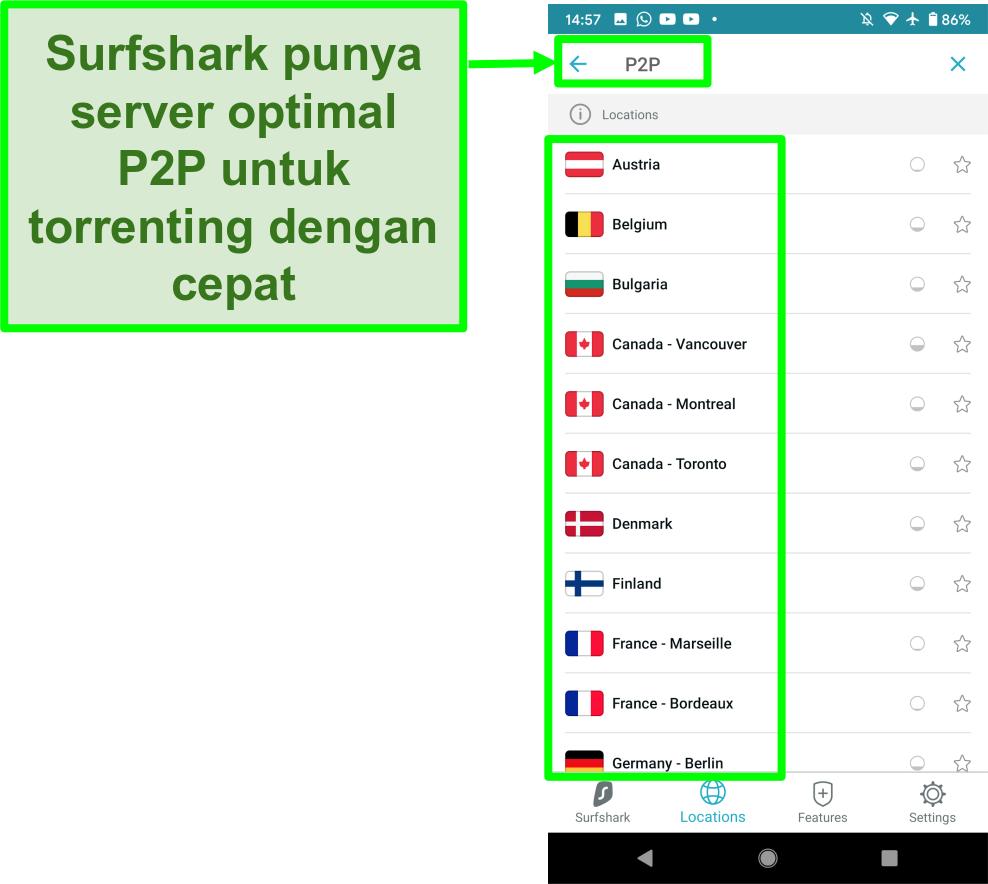 Tangkapan layar aplikasi Surfshark VPN Android yang menampilkan peladen yang dioptimalkan untuk P2P untuk torrent yang cepat
