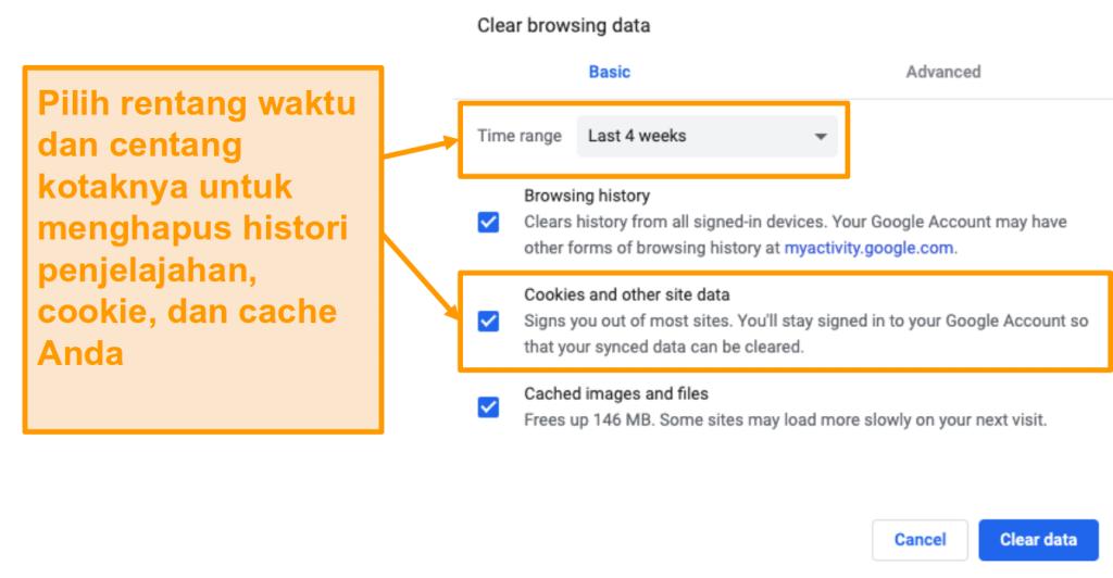 Tangkapan layar tentang cara membersihkan cache Anda di Google Chrome