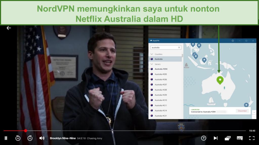 Tangkapan layar dari NordVPN yang membuka blokir Netflix Australia saat bermain Brooklyn Nine-Nine
