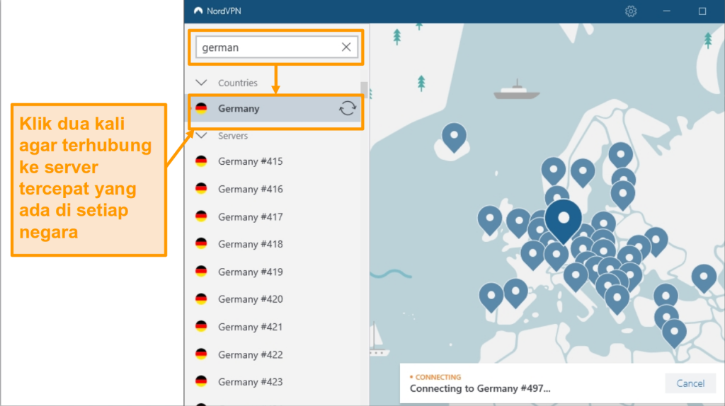 Tangkapan layar dari pemilihan server NordVPN Jerman