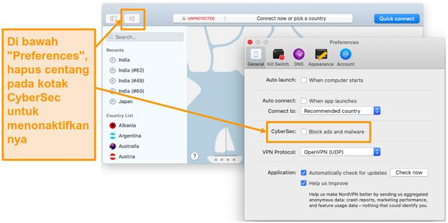 Tangkapan layar penonaktifan CyberSec di aplikasi NordVPN