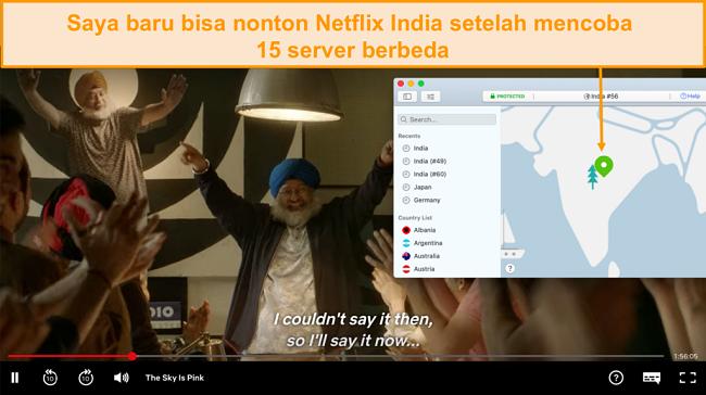 Tangkapan layar streaming Netflix India dengan NordVPN