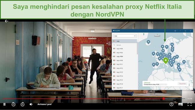 Tangkapan layar dari NordVPN yang membuka blokir Netflix Italia saat bermain Arrivano i Prof