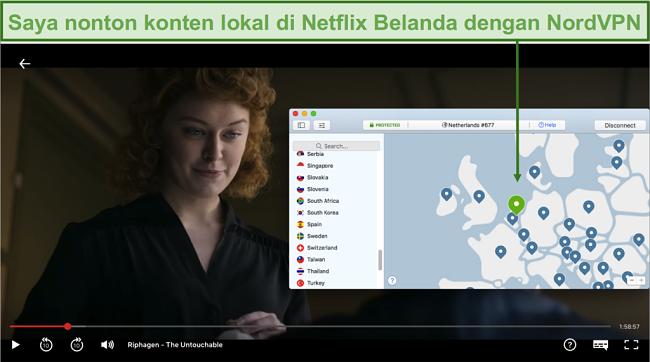Tangkapan layar streaming konten lokal di Netflix Belanda dengan NordVPN