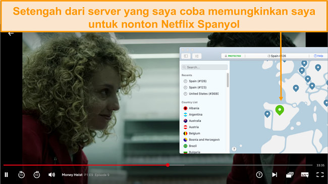 Tangkapan layar dari NordVPN yang membuka blokir Netflix Spanyol