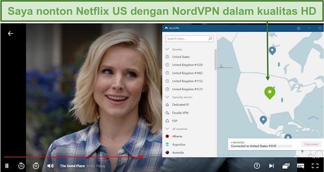Tangkapan layar streaming The Good Place di Netflix dengan NordVPN yang terhubung ke server AS