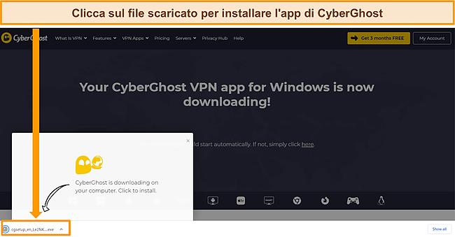 Screenshot dell'app CyberGhost scaricata su un dispositivo Windows.