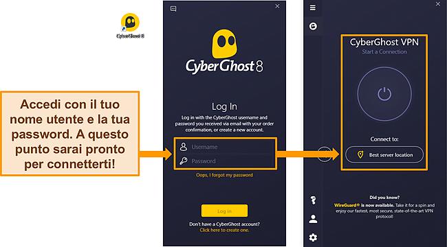 Screenshot dell'app Windows di CyberGhost con la sezione nome utente e password evidenziata.