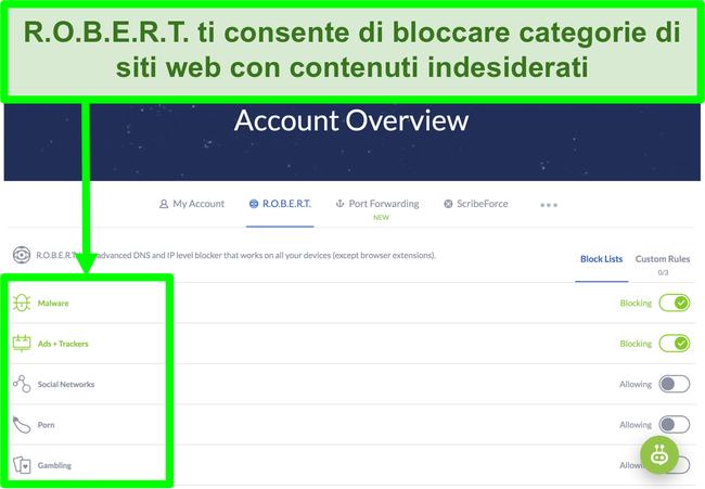Screenshot della pagina delle impostazioni di Winscribe che mostra le opzioni per bloccare annunci, malware e categorie di siti web