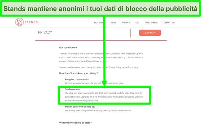 Screenshot del sito Web di Stand in cui si afferma che i dati sugli annunci bloccati non sono mai collegati alle informazioni personali degli utenti