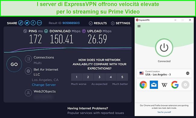 Screenshot dei risultati del test di velocità del server di ExpressVPN a Los Angeles con velocità elevate