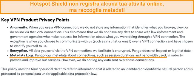 Screenshot dell'informativa sulla privacy di Hotspot Shields