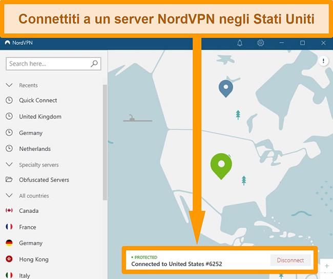 Screenshot della connessione a un server statunitense con NordVPN