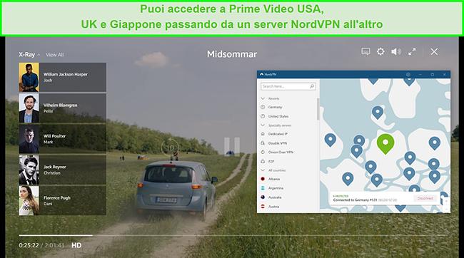 Screenshot di NordVPN connesso a un server tedesco e sblocco di Midsommar su Prime Video US