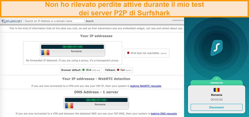 Screenshot del test di tenuta di Surfshark che mostra l'assenza di fughe di IP