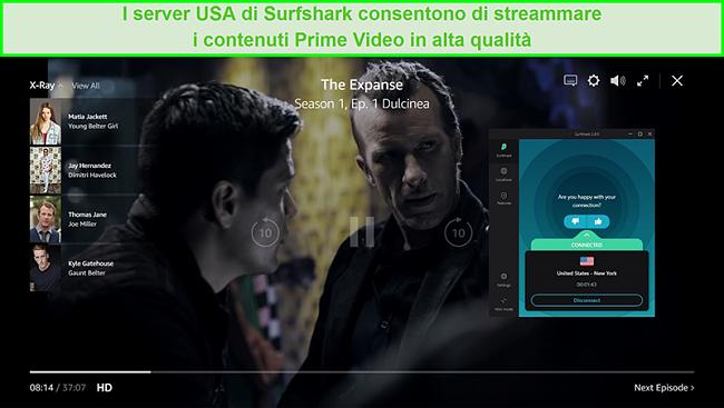 Screenshot di Surfshark connesso a un server statunitense e sbloccato The Expanse su Prime Video US