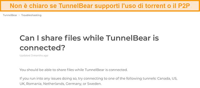 Screenshot della pagina di risoluzione dei problemi di TunnelBear sulla condivisione di file