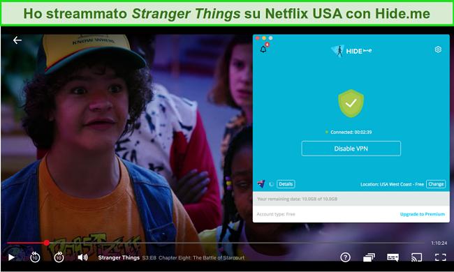 Screenshot di hide.me che accede a Stranger Things su Netflix USA