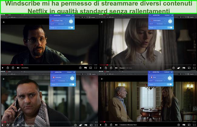Screenshot di Windscribe che accede a Netflix negli Stati Uniti, nel Regno Unito, in Canada e in Francia