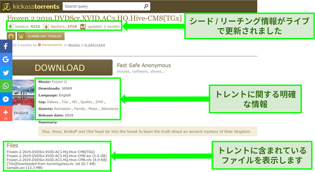 KickassTorrentsダウンロードページのスクリーンショット
