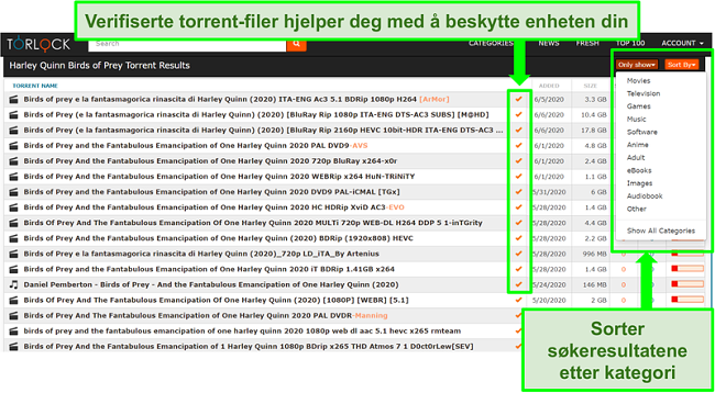 Skjermbilde av falske lenker på TorLock