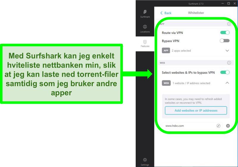 Skjermbilde av Surfsharks app og URL-hvitelisterfiltre