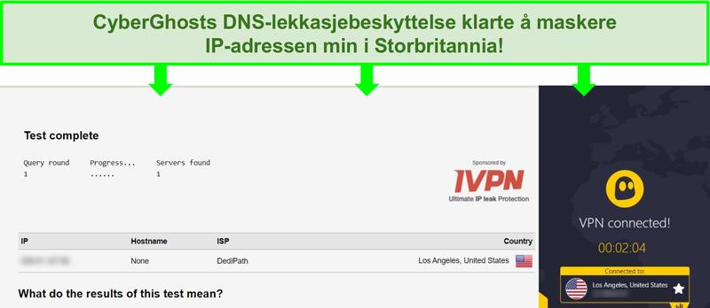 Skjermbilde av en DNS-lekkasjetest mens den er koblet til CyberGhost
