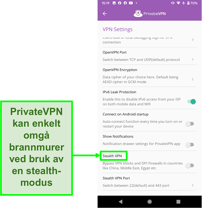 Skjermbilde av PrivateVPN Android-app som viser Stealth VPN-funksjon som hjelper å omgå VPN-blokker