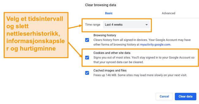 Skjermbilde for å tømme hurtigbufferen og nettleserloggen i Google Chrome