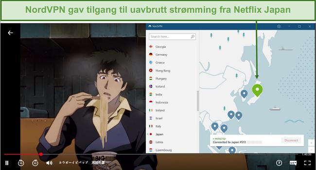 Skjermbilde av NordVPN som blokkerer Netflix Japan mens du spiller Cowboy Bebop