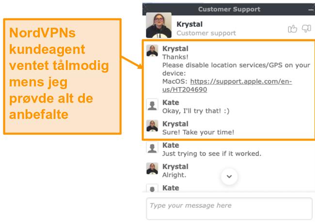 Skjermbilde av NordVPN live chat-funksjonen for kundesupport