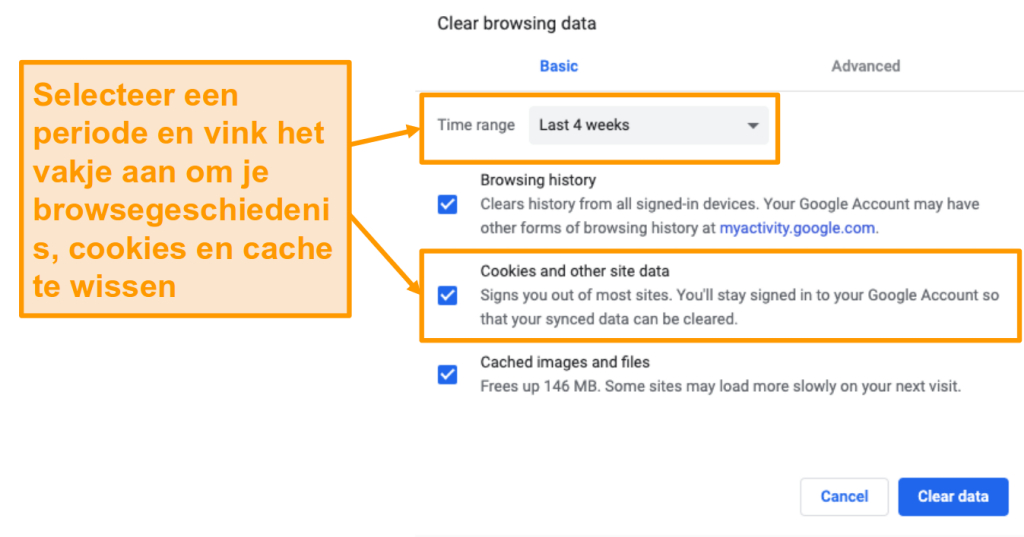Screenshot van het wissen van cache en browsegeschiedenis in Google Chrome