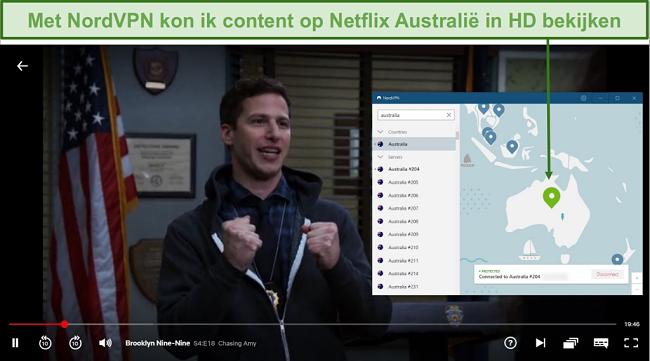 Screenshot van NordVPN Deblokkeren van Netflix Australië tijdens het spelen van Brooklyn Nine-Nine
