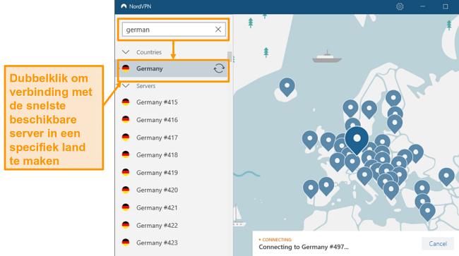 Screenshot van NordVPN Duitsland serverselectie