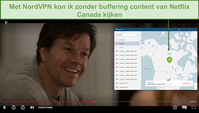 Screenshot van NordVPN Netflix Canada deblokkeren tijdens het spelen van Instant Family