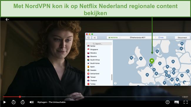 Screenshot van het streamen van lokale content op Netflix Nederland met NordVPN