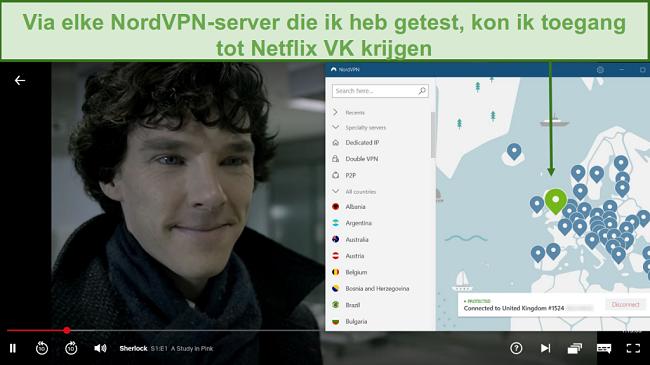 Screenshot van NordVPN Netflix UK deblokkeren tijdens het spelen van Sherlock
