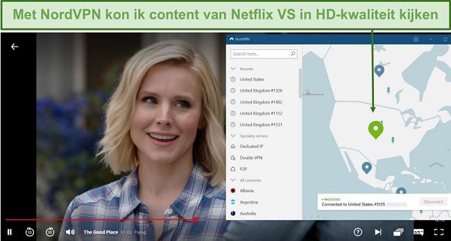 Screenshot van The Good Place-streaming op Netflix met NordVPN verbonden met een Amerikaanse server
