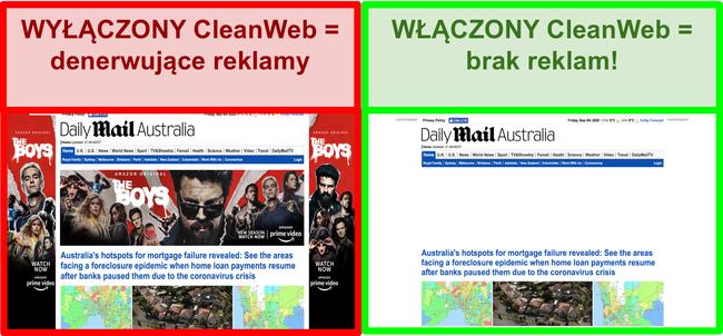 Zrzut ekranu CleanWeb skutecznie usuwający reklamy ze strony Daily Mail.