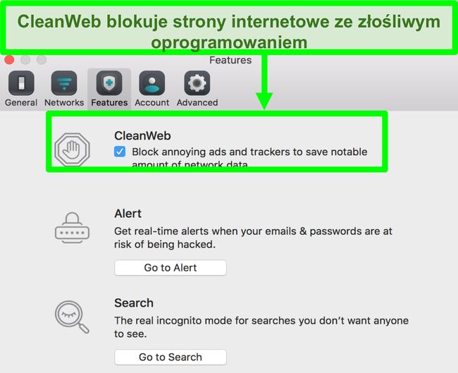 Zrzut ekranu przedstawiający CleanWeb skutecznie blokujący witrynę internetową ze złośliwym oprogramowaniem
