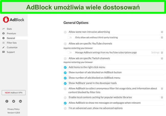Zrzut ekranu przedstawiający wiele opcji dostosowywania AdBlock