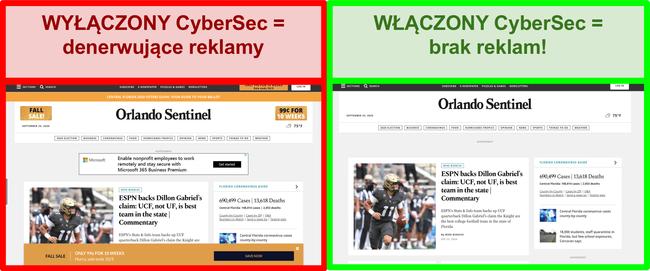 Zrzut ekranu przedstawiający CyberSec firmy NordVPN usuwający reklamy ze strony Orlando Sentinel