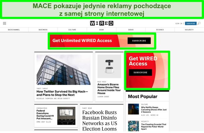 Zrzut ekranu przedstawiający MACE blokujący większość reklam w witrynie Wired