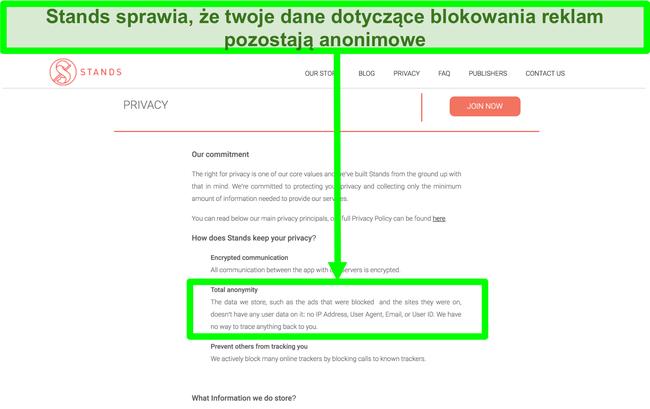 Zrzut ekranu strony internetowej Stands z informacją, że dane na temat zablokowanych reklam nigdy nie są łączone z danymi osobowymi użytkowników